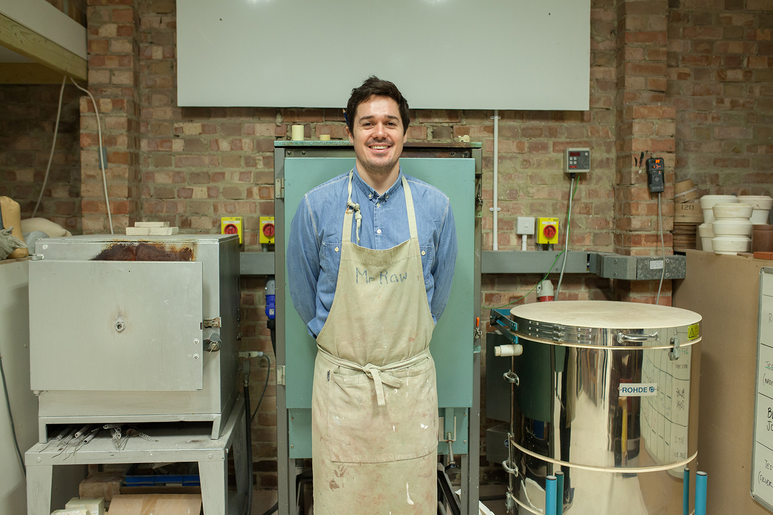 Ceramicist Matthew Raw in his Haggerston studio space. Photography: Marina Castagna