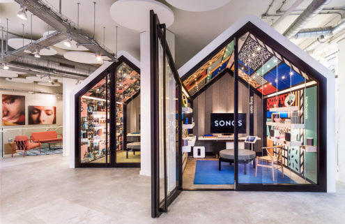 Sonos' London concept store has cabin-shaped listening rooms