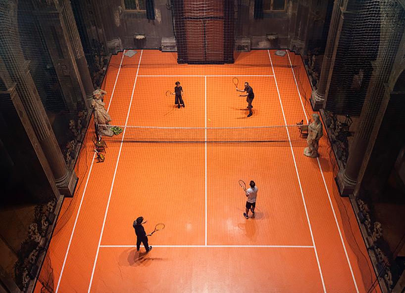 Asad Raza tennis court installation Milan church