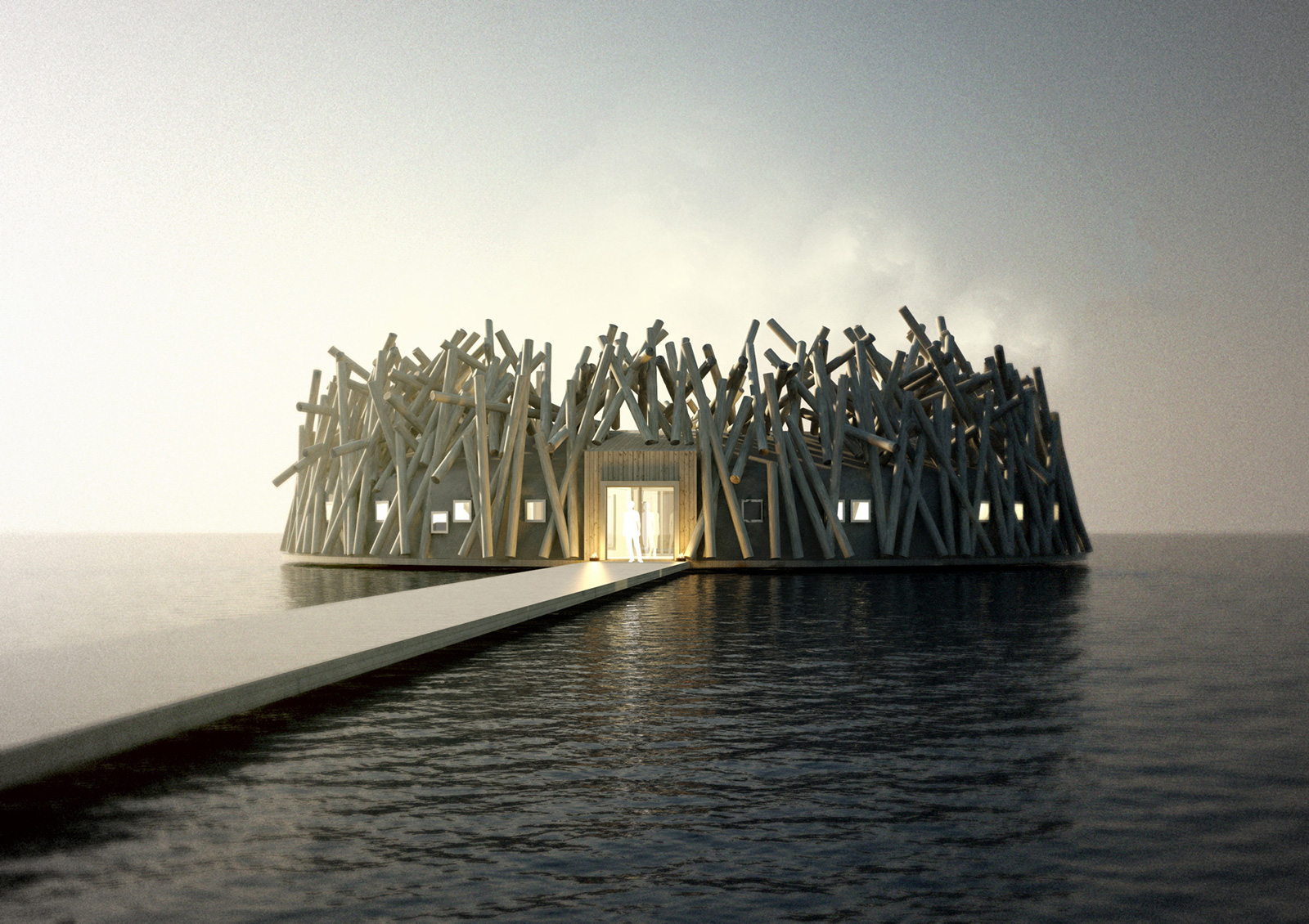 Render of the Arctic Bath spa retreat in Harads, Swedish Lapland