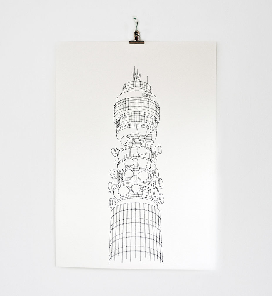 The Spaces Xmas gift guide - thread artwork of the BT tower