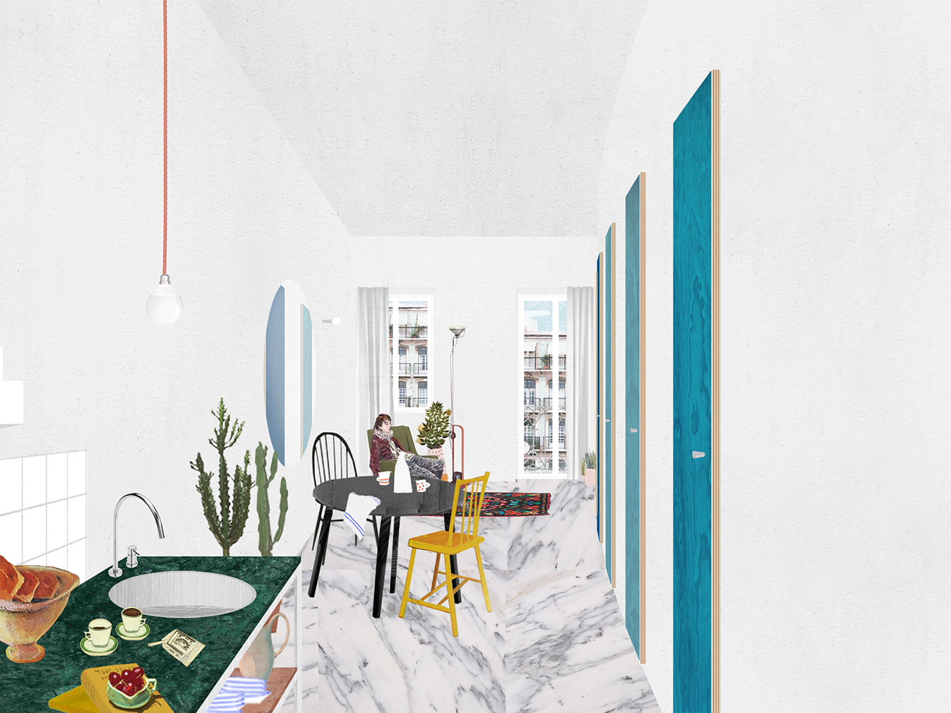 A collage of an apartment by Atelier Fala