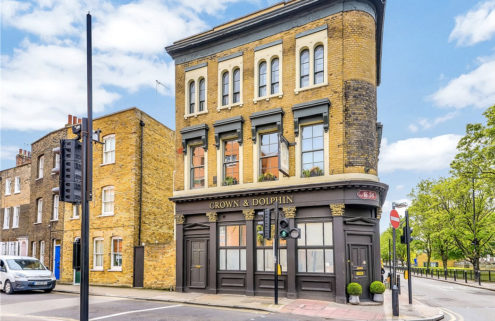 Flat in a converted East London pub lists for £695k