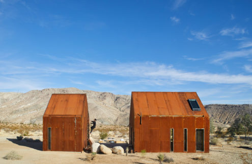 Salvaged steel cabins pop up in California's Joshua Tree National Park