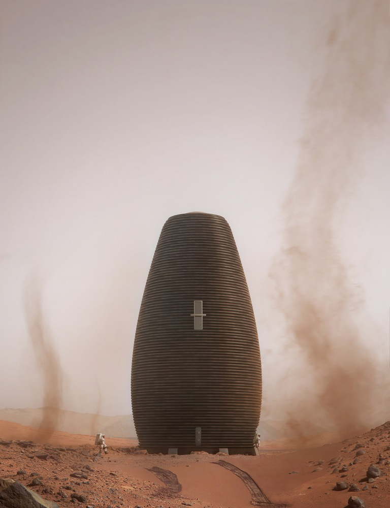 Marsha 3D-printed home for Mars, designed by AI Space Factory