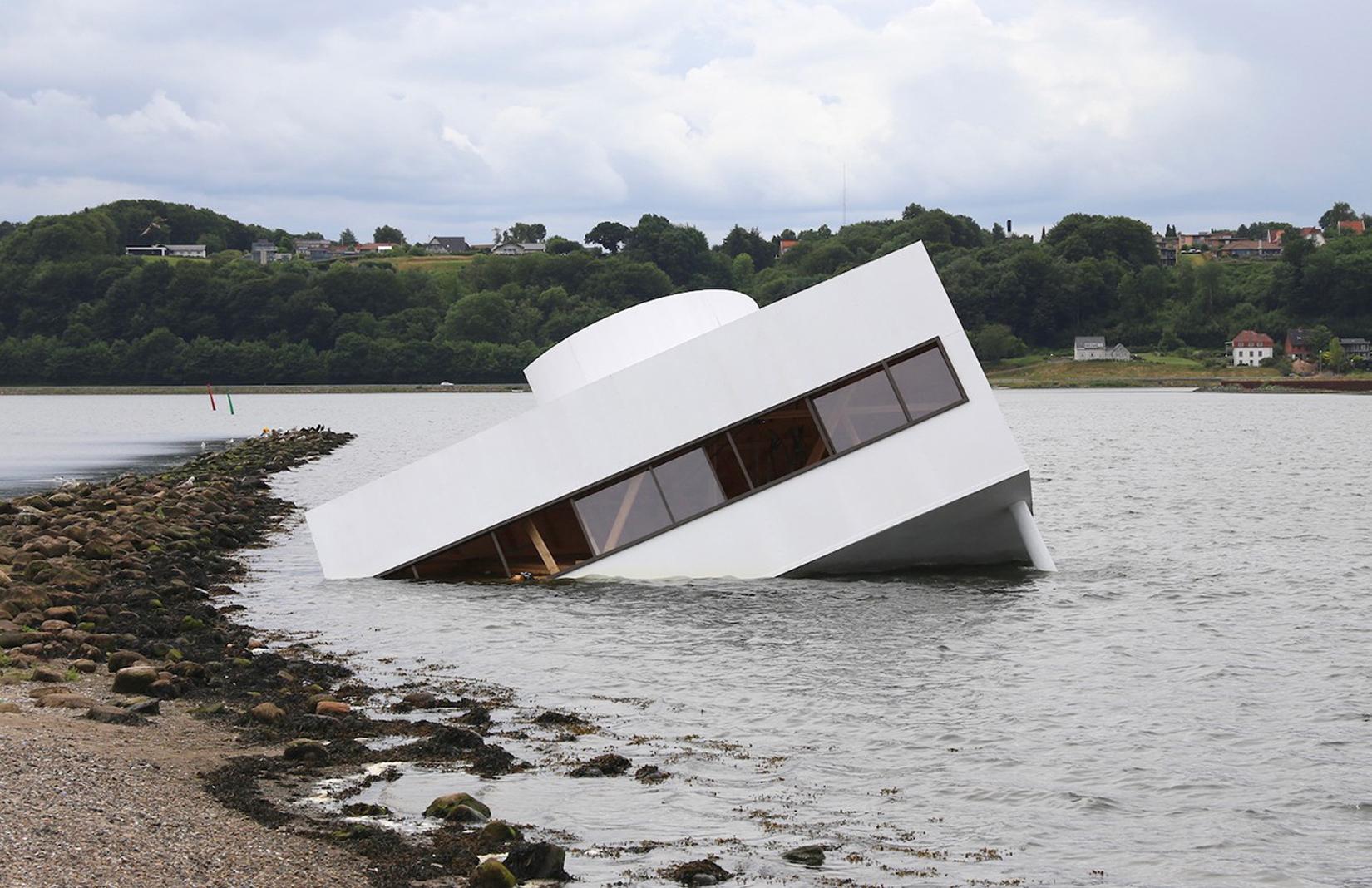 Artist sinks the Villa Savoye in a Danish fjord
