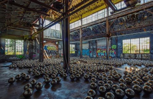 Yayoi Kusama artwork fills abandoned garage with 1,500 mirrored balls