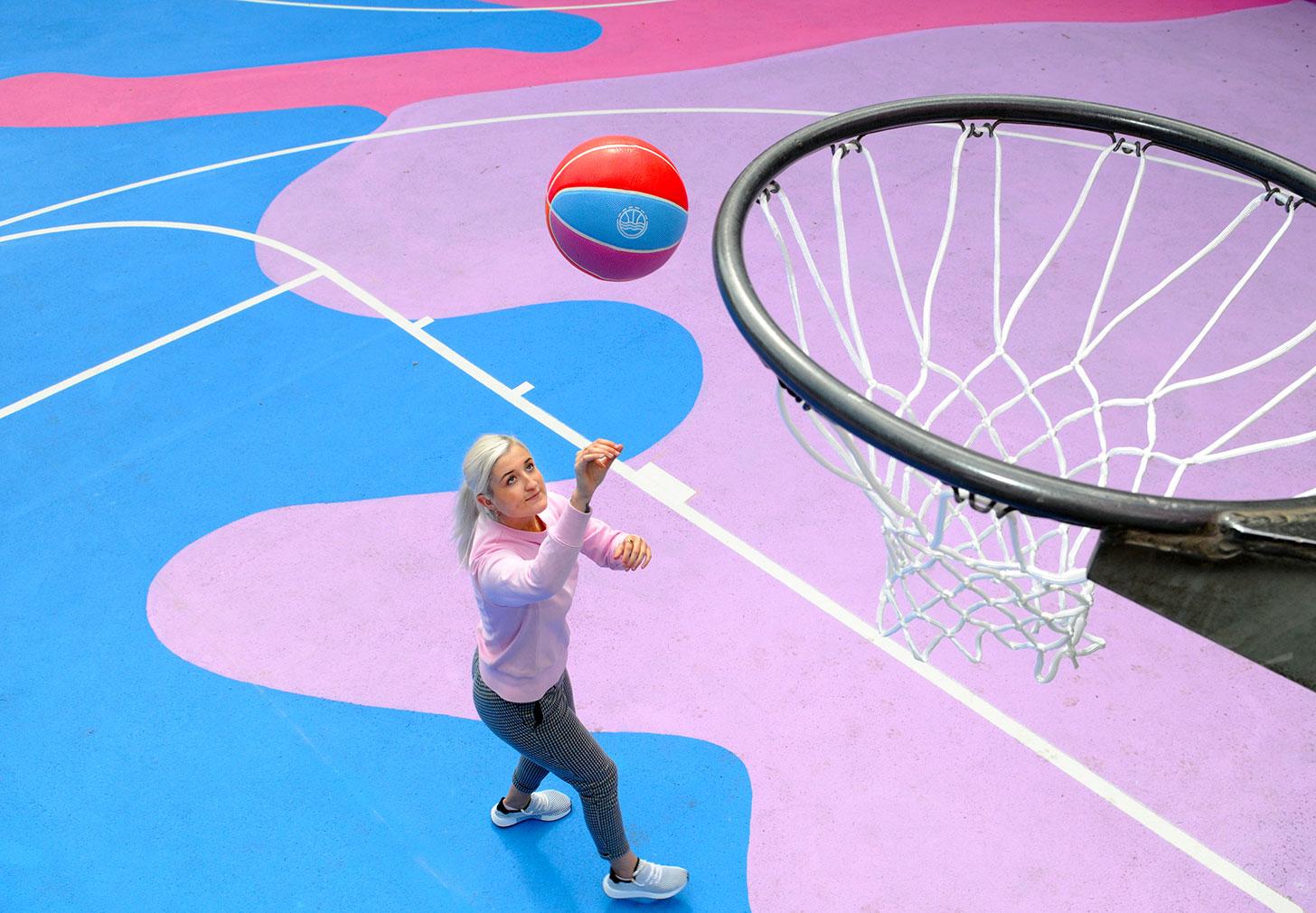 Lois O'Hara gives a Brighton basketball court a colour injection