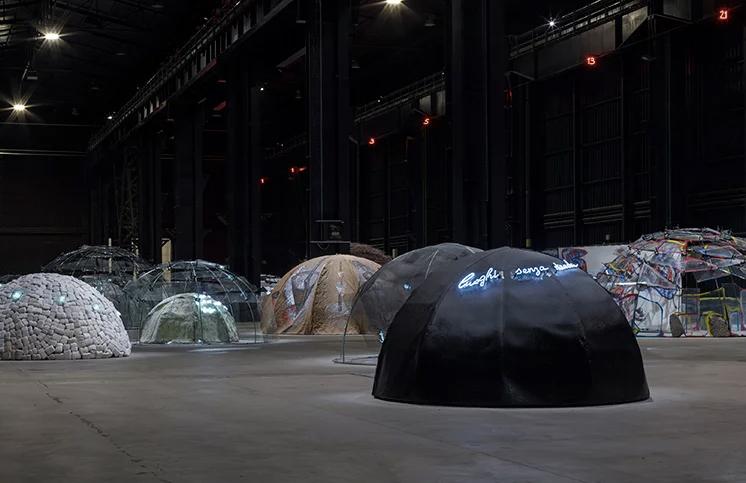 Mario Merz, 'Igloos' exhibition view at Pirelli HangarBicocca, Milan, 2018. Courtesy Pirelli HangarBicocca, Milan. Photography: Renato Ghiazza © Mario Merz / Siae 2018