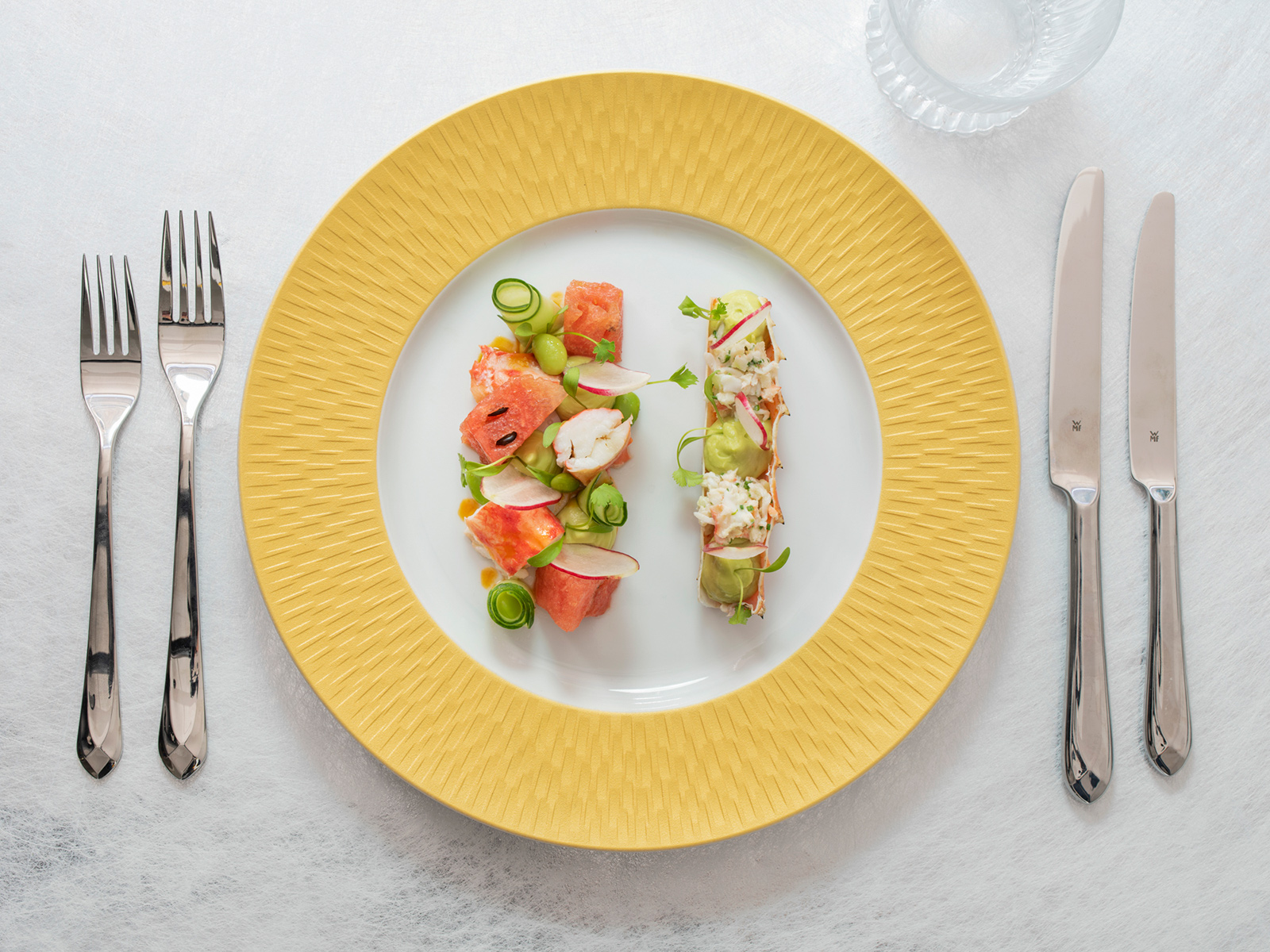 Alaskan snow crab salad with watermelon, radish and lobster dressing. Courtesy of Brasserie of Light