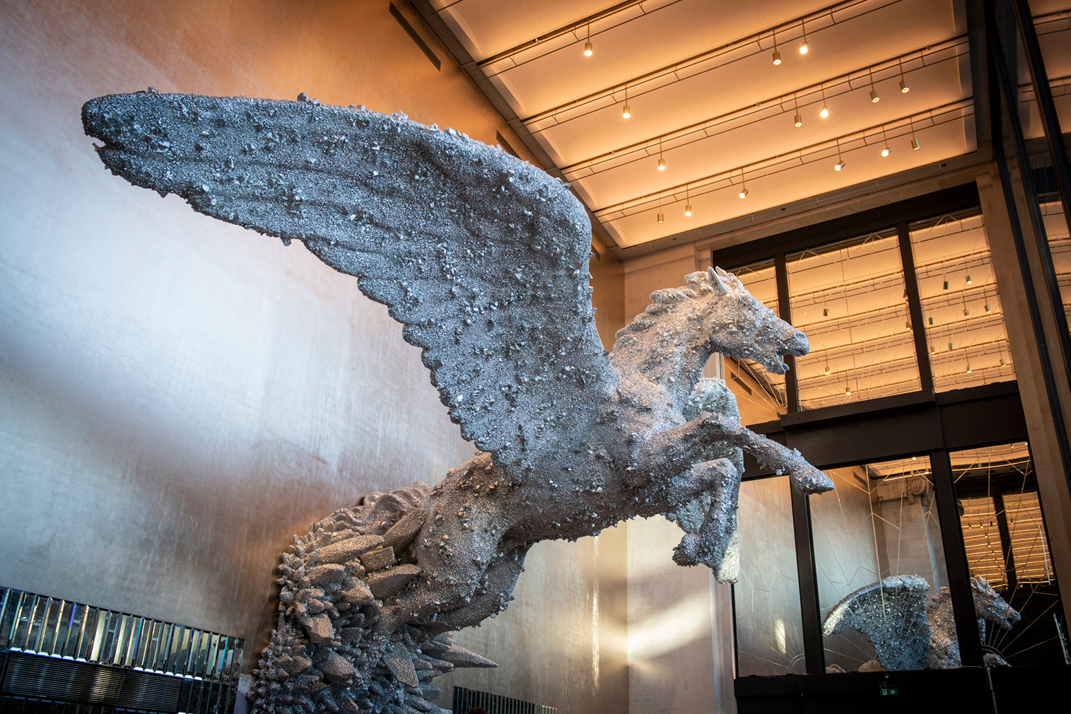 Selfridges' Brasserie of Light features a 24-ft-tall flying horse by Damien Hirst