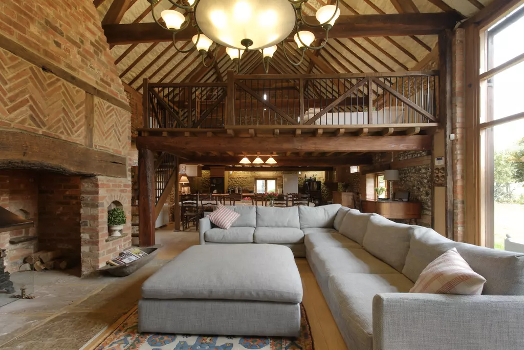 The living room of a converted barn vacation home in Henley-on-Thames, UK