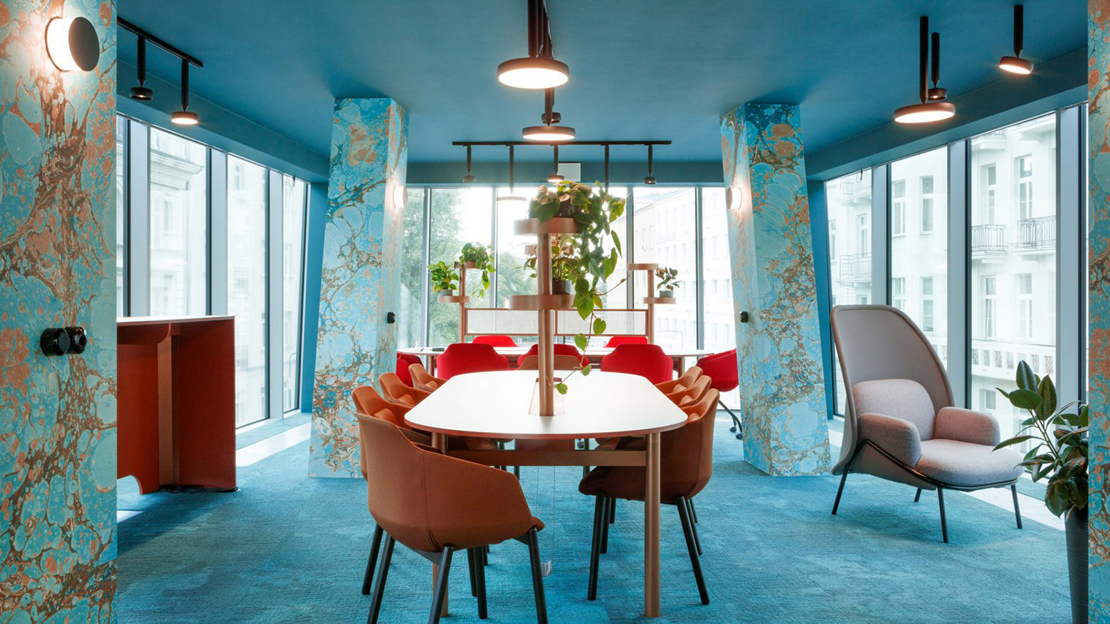 Move over millennial pink... Warsaw's Nest coworking space is drenched in aqua blue