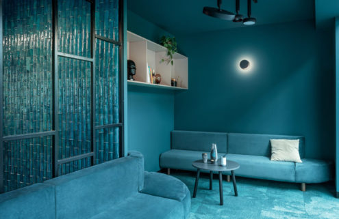 Move over millennial pink… this Warsaw coworking space is drenched in aqua blue