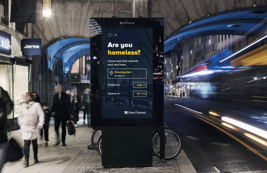 Stockholm has launched a billboard initiative to help the city's homeless population as temperatures plummet in the city this January