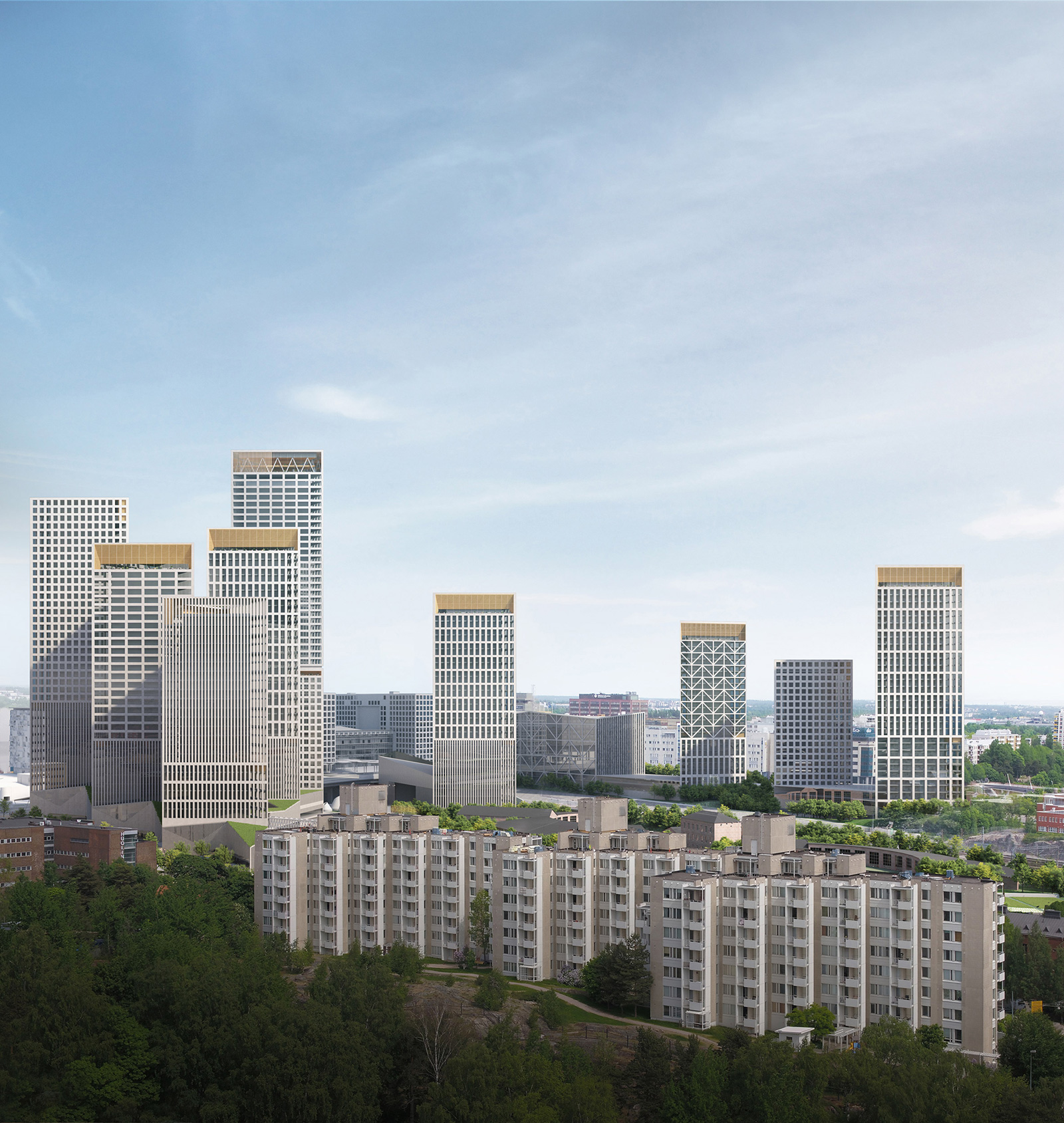 Trogoni towers in Helsinki, part of Lahdelma & Mahlamäki's masterplan for the city