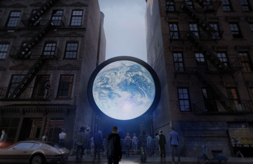 Sebastian Errazuriz suspends the 'Earth' between two buildings in NYC