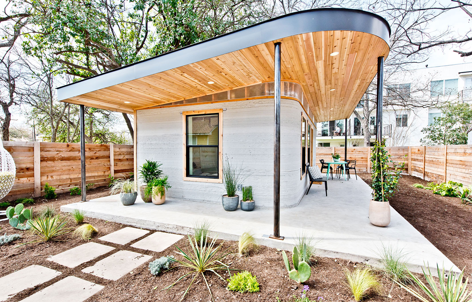 Icon's first 3D printed US home in Austin. Courtesy ICON