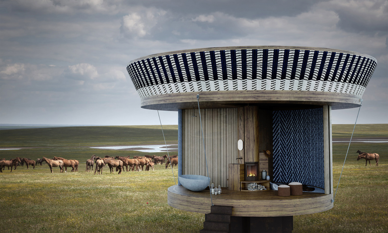 Casa Ojalá is reminiscent of a yurt thanks to its fabric walls and sliding canopy
