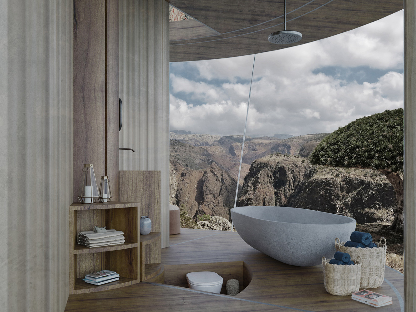 Casa Ojalá render showing wooden interiors and stone bath tub