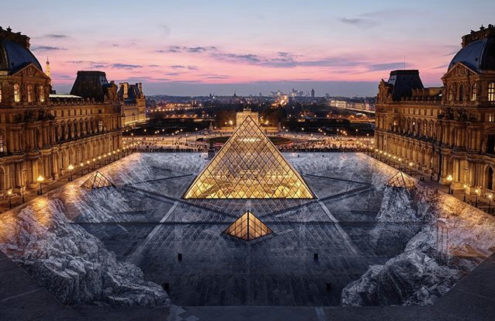 JR sinks the Louvre pyramid into a quarry for epic optical illusion