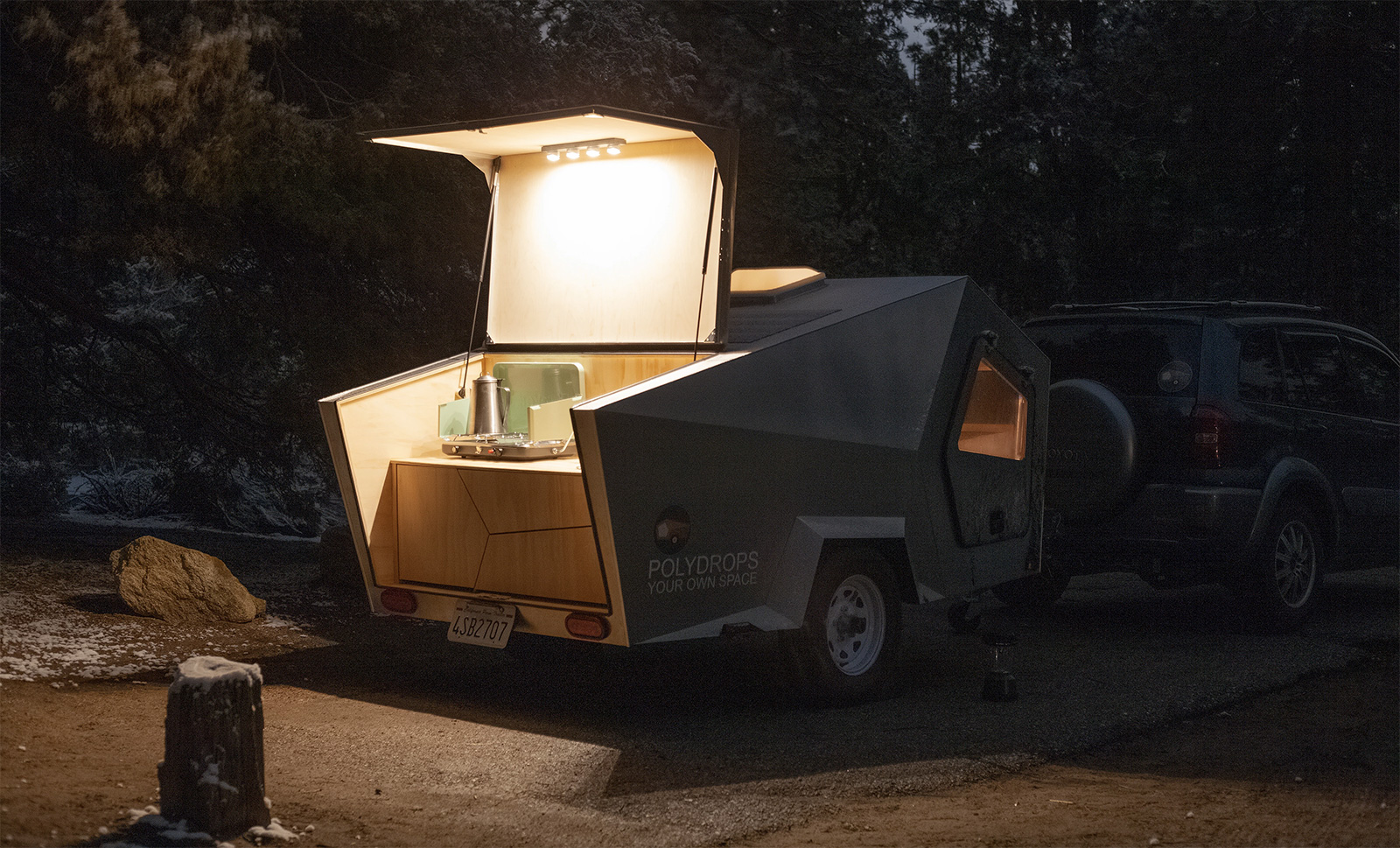 The Polydrop camper has an aluminium shell that makes it lightweight for towing