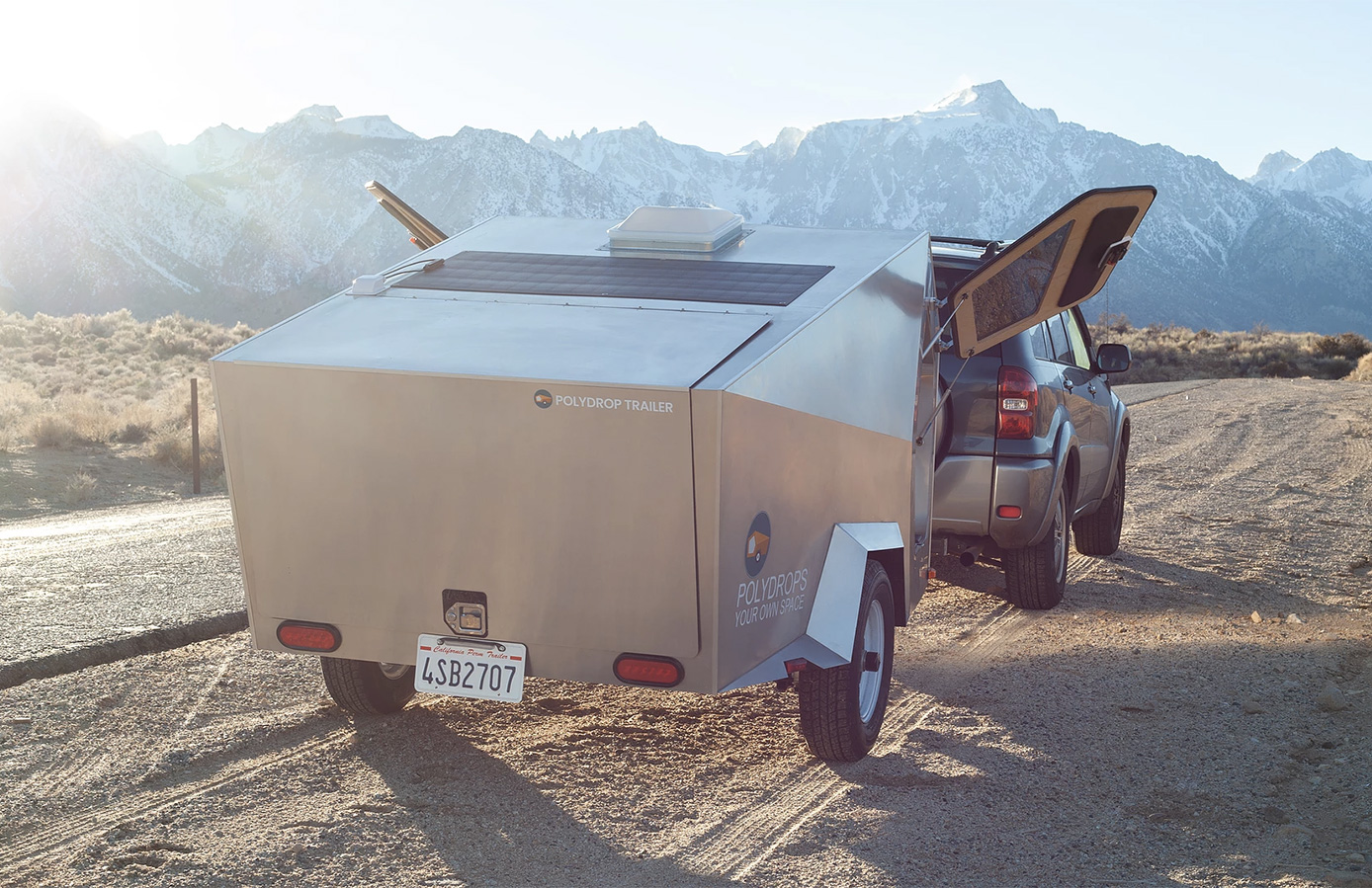 Is this the world's most minimal camper? The Polydrop cabin has pine interiors and a lightweight aluminium shell