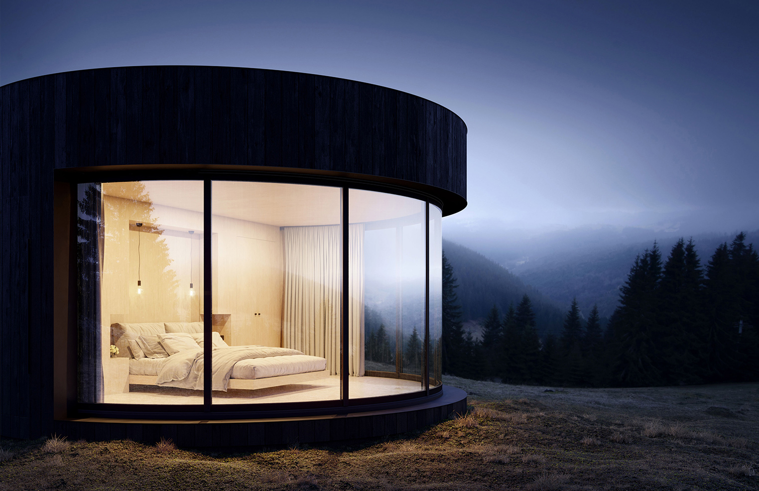 This round cabin opens straight onto the landscape