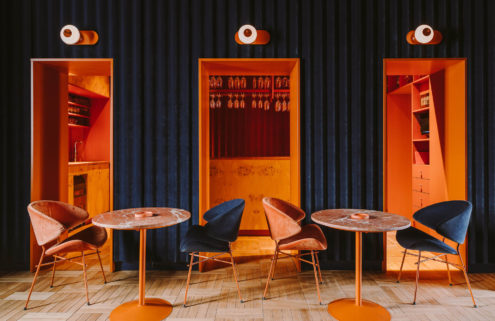 Velvet lines the walls at Warsaw's Opasly Tom restaurant