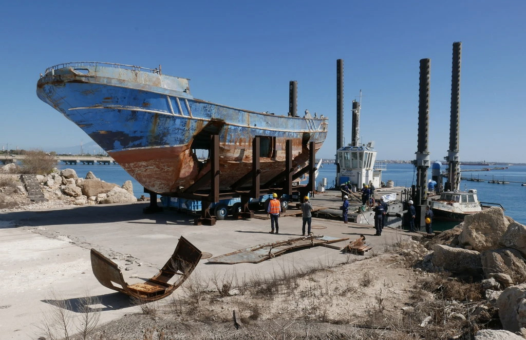 Ship that killed hundreds of migrants is displayed at the 2019 Venice Biennale