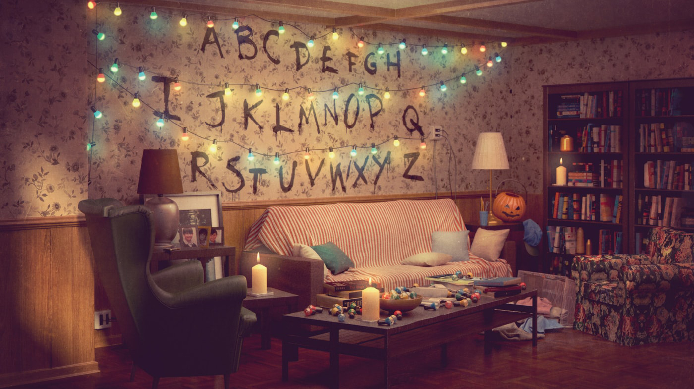 Room for everyone recreates the Byers family's living room from Stranger Things down to the fairy light alphabet. Courtesy of IKEA