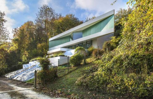 A futuristic house built on the Seine is for sale