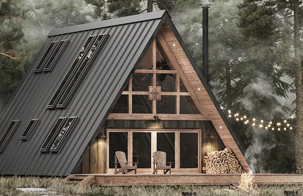 This classic A-frame cabin comes in a box