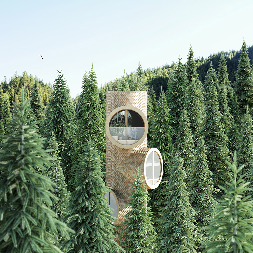 These tubular treehouses can branch out as owners need more space
