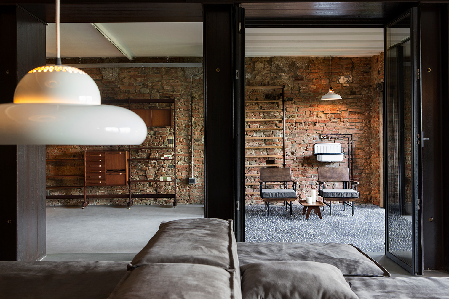 Its owner carved up the space using steel framed glass partitions