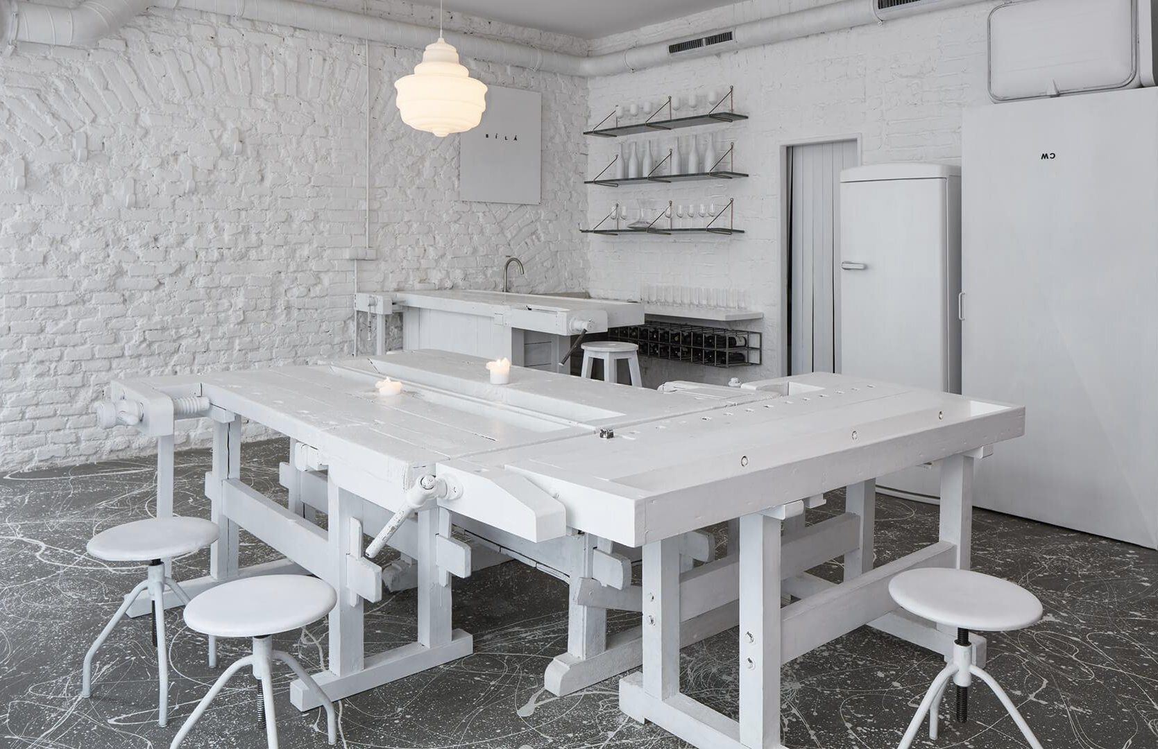 The ultra-minimal interiors of Dvojka bar in Prague