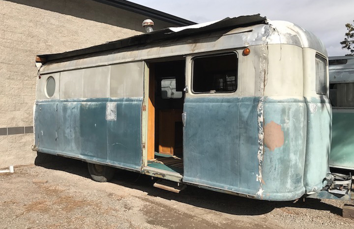 A 1948 Palace Royale camper in need of restoration