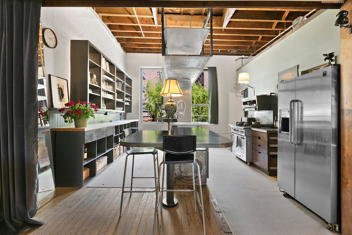 Converted firehouse for sale in Brooklyn: the kitchen brings together rustic and industrial touches