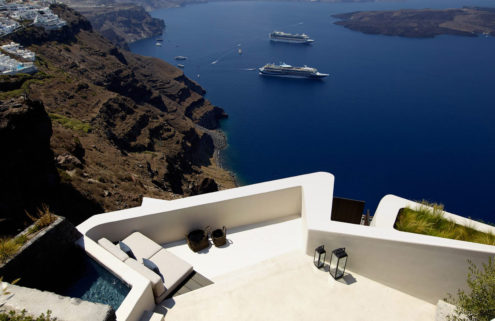 Villa Vora is carved into a volcanic clifftop in Santorini
