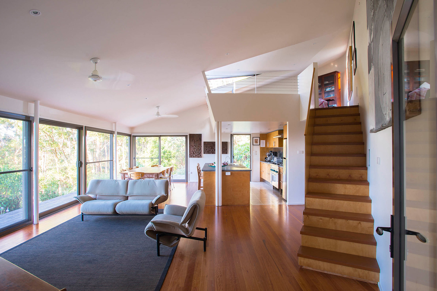 Way Way House has unusual angles and a double-height living room