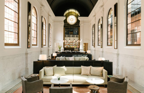 The spartan interiors of Antwerp's August hotel reflect its convent past