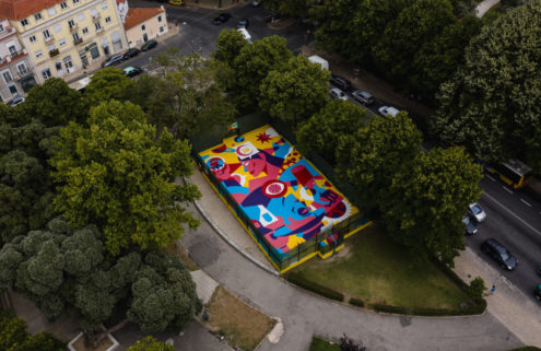 This Lisbon basketball court is now a huge playing card