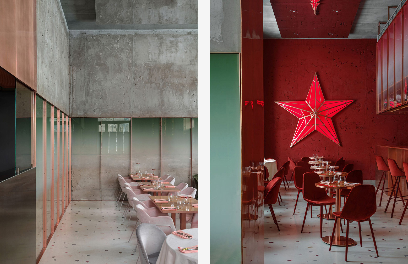 Pastel and concrete reigns supreme at Moscow's Pink Mama restaurant