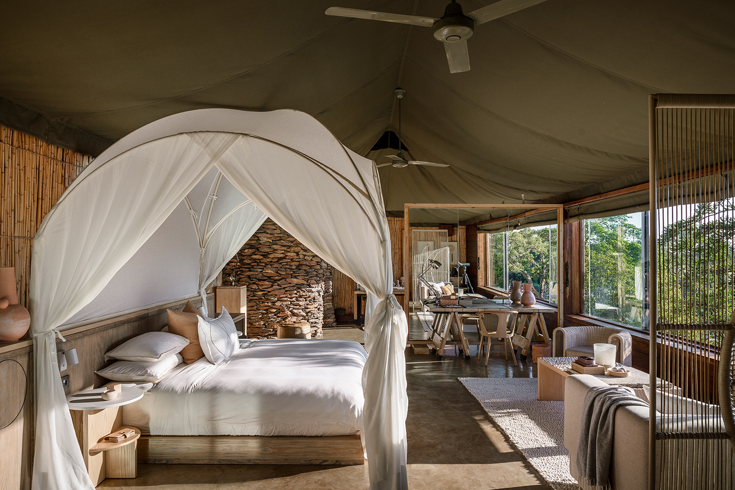 Singita Faru Faru tented bedroom suite. Photography: Adriaan Louw