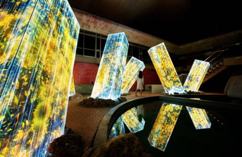 Teamlab builds glowing 'ruins' in an abandoned bathhouse in Japan