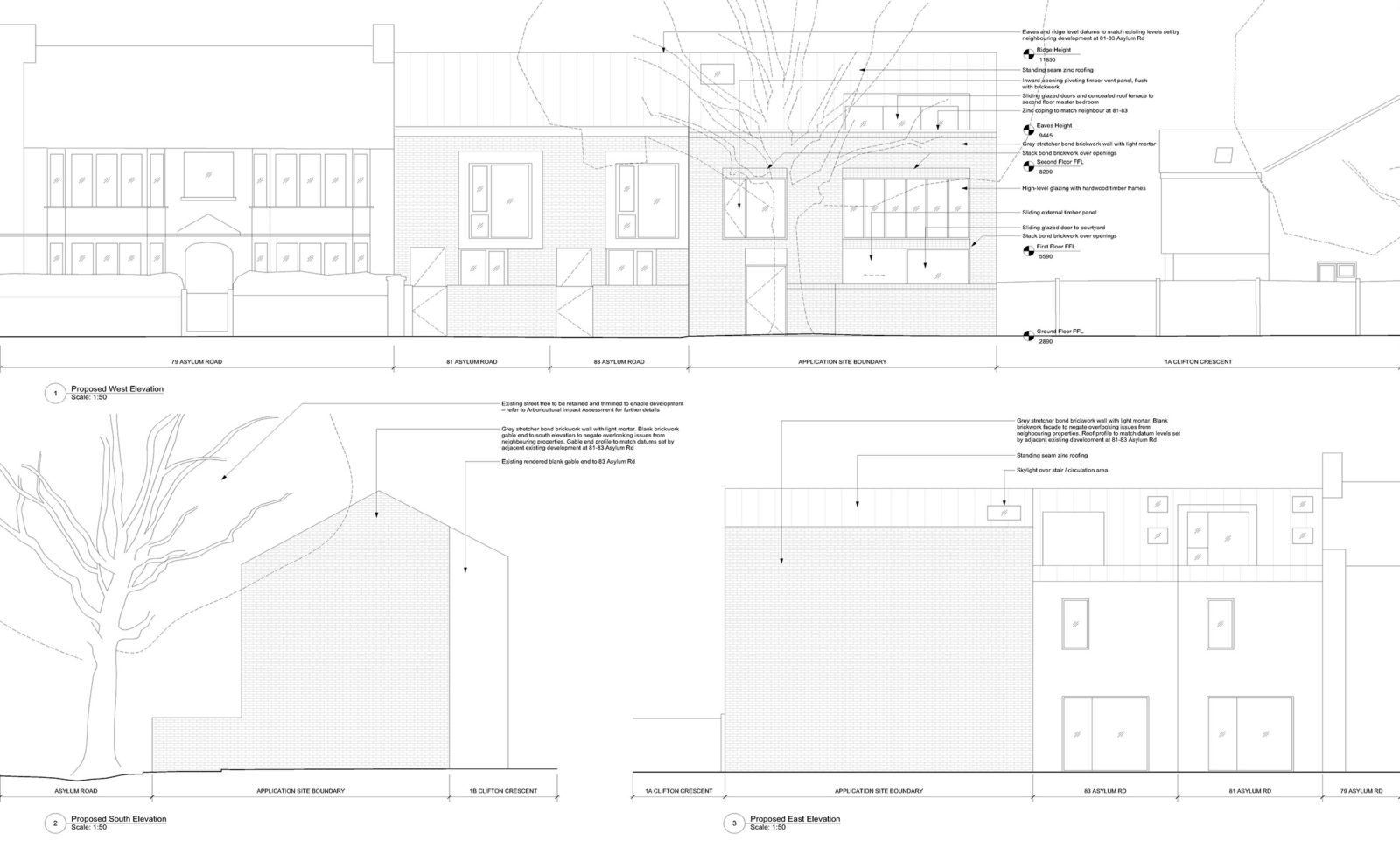 Plans for the proposed development by Carl Turner Architects. Via The Modern House