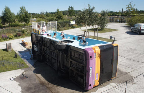 Take a dip in this swimming pool bus