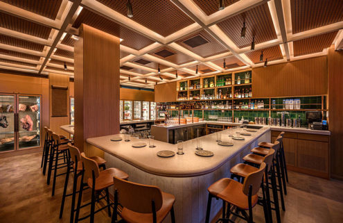 Momofuku's Bar Wayō frames views over New York's East River