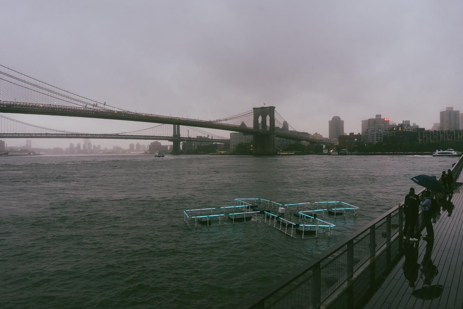 Floating LED sculpture on Manhattan's East River,