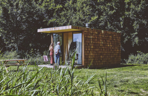 Shingled tiny home raises the bar for glamping in Holland